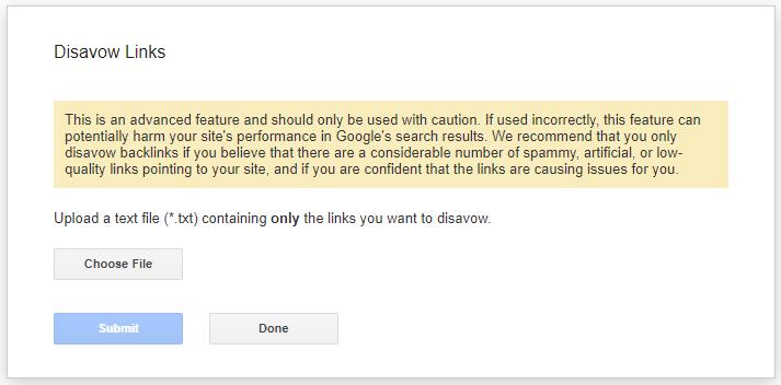 Google disavow links process