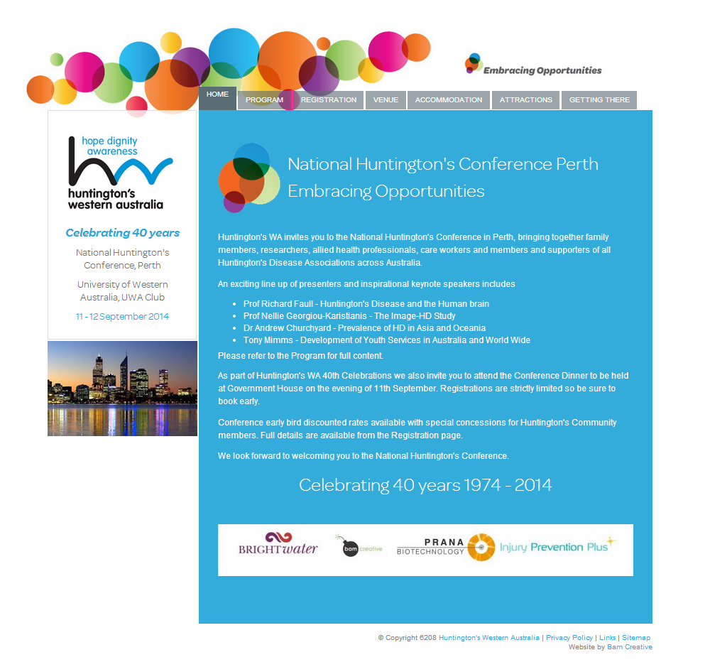 Huntington's WA Perth Conference website