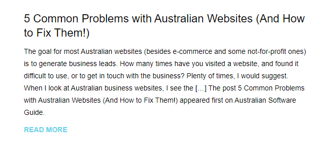 Email newsletter from Australian Software Guide