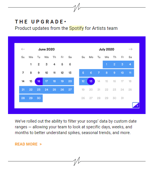 Email newsletter content: Spotify