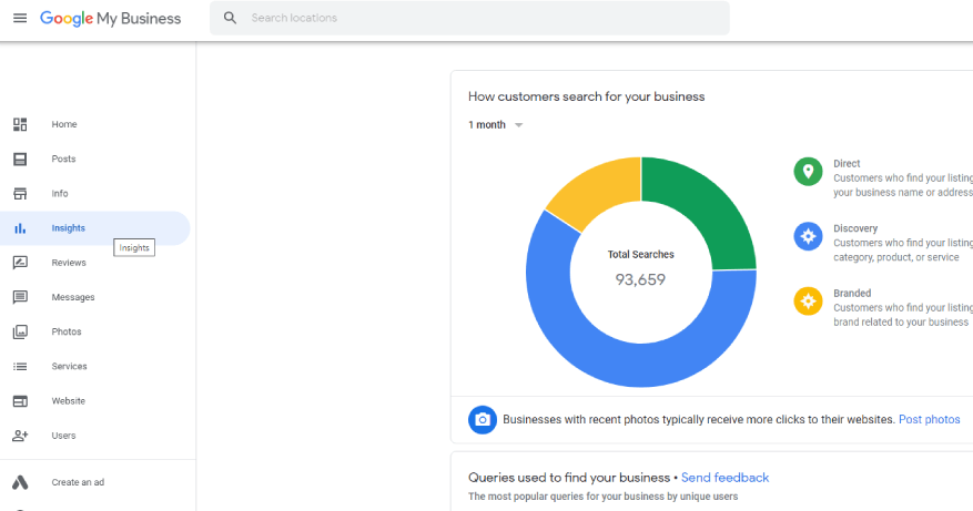 Insights screen in Google My Business
