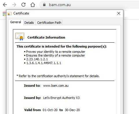 SSL certificate information in Chrome browser