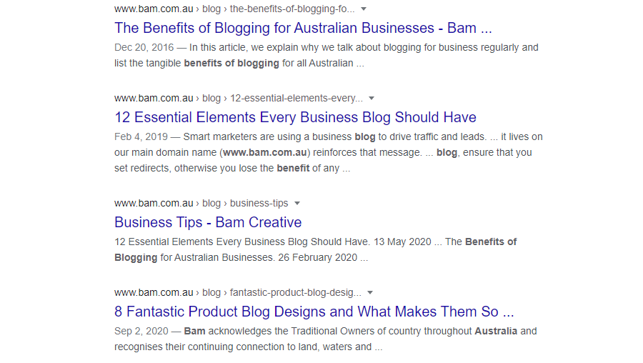 SEO benefits of blogging: Google results